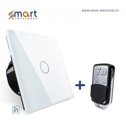 Întrerupător simplu touch screen și comandă radio de la distanță – alb + telecomanda LIVOLO (model RMT-02)