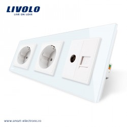 Priză triplă combinată LIVOLO 2 prize simple+TV/internet - alba